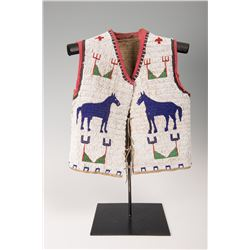 "Sioux Pictorial Beaded Teenage Boy's Vest, 16"" x 14"""
