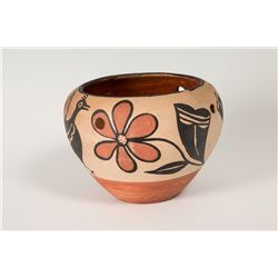 "Polychrome pot, 5 ½"" x 8"""