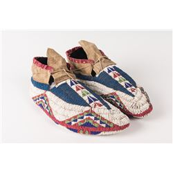 Sioux Beaded Man's Ceremonial Moccasins, 10""