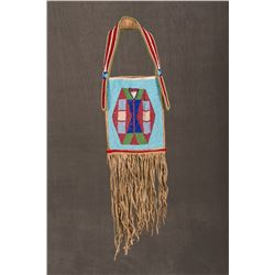 "Nez Perce Fully Beaded Mirror Bag, 19"" long"