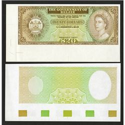 Government of Belize, $20, 1975-76 Issue Progress Specimen Pair.