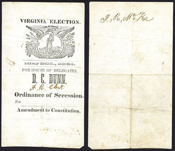 "Virginia 1861 ""Ordinance of Secession - Amendment to ..."