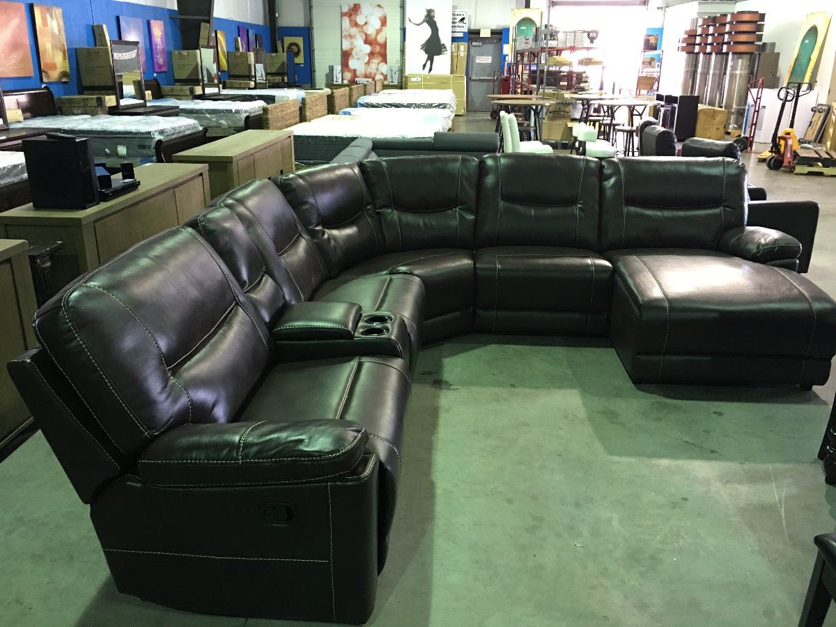 brown leather 6 piece reclining sectional sofa set. Black Bedroom Furniture Sets. Home Design Ideas