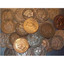 Lot of 500 Indian Head Cents- circulated-