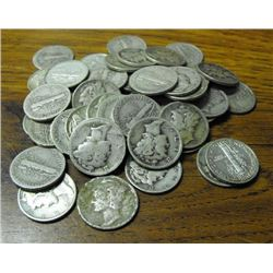 Lot of 250 Mercury DImes 90% Silver- Various