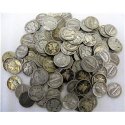 Lot of 100 Mercury SIlver Dimes 90%-Various