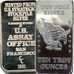 RARE 10 oz. US ASSAY Office Silver Bar