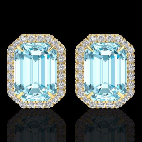 Natural 12 CTW Sky Blue Topaz And Micro Pave Diamond Halo ...