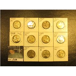 Complete Set of U.S. Silver War Nickels all grading EF-AU, includes 1942 P, S, 43 P, D,  S, 44 P, D,