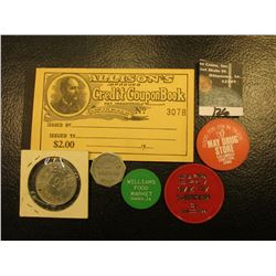 """Mint condition Booklet """"Allison's Improved Credit Coupon Book… $2.00""""; & (5) different Iowa Good For"""