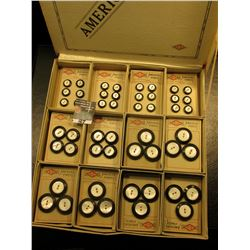 """S.B. Co. America's Finest"" Original box with a large group of Carded Abalone buttons with black out"