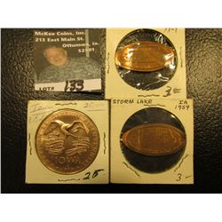 (2) 1969 Storm Lake, Iowa Elongated Cents; & 1976 American Revolution Bicentennial Iowa State Plow/S