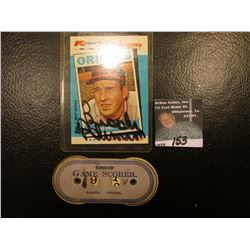 """Dennison's Game Scorer""; & 1982 Topps ""Brooks Robinson MVP"" Kmart 20th Anniversary Card with origin"