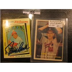 "1982 Topps ""Johnny Bench MVP"" Kmart 20th Anniversary Card with original autograph; & ""Gene Conley"" #"