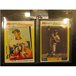 "1982 Topps ""Sandy Koufax"" & ""Don Drysdale"" Kmart 20th Anniversary Cards with original autographs."