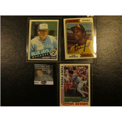 "1982 Topps ""Tony Perez"" # 256 Card with his personal Autograph; 1974 ""Dave Winfield"" # 456, personal"