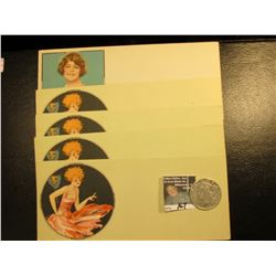 "Blank Advertising cards ""Made in U.S.A."", they depict a roaring twenties Flapper Girl (5 pcs.). Two"
