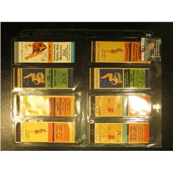Collection of (8) different Risque Match Book Advertising Covers In a special plastic page for cover