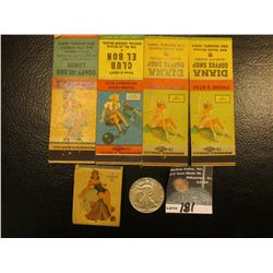 1942 P Walking Liberty Half Dollar, EF; & Collection of (4) different Risque Match Book Advertising