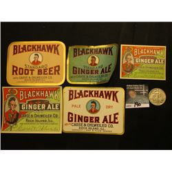 "(4) Different design ""Blackhawk Ginger Ale Carse & Ohlweiler Co. Rock Island, Illinois"" Bottle Label"