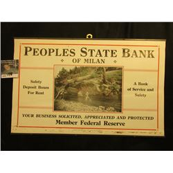 "1930 era sign ""Peoples State Bank of Milan/Safety/Deposit Boxes/For Rent/ A Bank/of Service and/Safe"