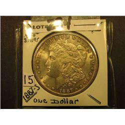 1887 S Morgan Silver Dollar. Nicely toned Super AU.