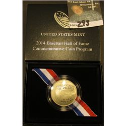 2014 S Cupped design Baseball Half-Dollar. Gem Proof. In original box of issue.