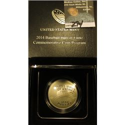 2014 P Cupped design Baseball Silver Dollar. Proof. In original box of issue
