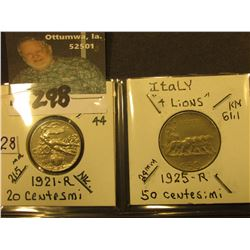 1921R Italy 20 Centesimi, KM44, (naked woman flying in clouds), UNC; & 1925R Italy (4 Lions) 50 Cent