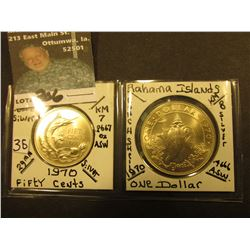 Bahamas Islands Silver: 1970 Fifty Cent, KM7, BU & 1970 One Dollar, KM8, Both BU. KM value $18.00.