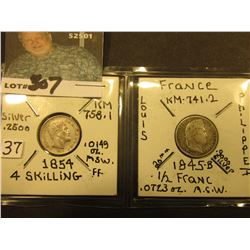 1854 Denmark 4 Skilling & 1845 France Half Franc. KM value $40.00