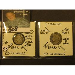 French Silver: 1866A 20 Centimes, KM805.1 & 1888A 50 Centimes, KM834.1,