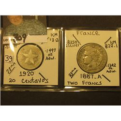 1920 Cuba 20 Centavos, KM13.2 & 1887A France, Two Francs, KM822.1. Both Silver.