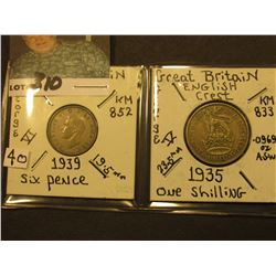 Great Britain Silver: 1939 Six Pence, KM852 & 1935 One Shilling, KM833.