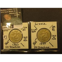 Pair of 1960 Greek Silver 20 Drachmai, KM85, Both EF.