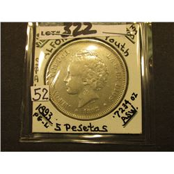 1893 Spain Five Pesetas, KM700, (Alfonso XIII as a youth) EF, .7234 ozs. Silver.
