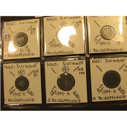 (6) Different Nazi Germany Coins, all depicting the Nazi Swastika.