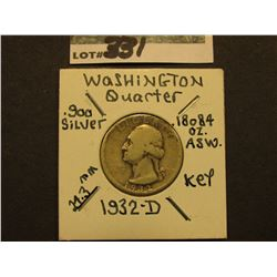 1932 D  Washington Silver Quarter, Super Key date, VG.