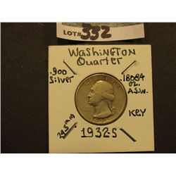 1932 S  Washington Silver Quarter, Super Key date, VG.