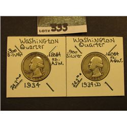 1934 P & D Washington Silver Quarters, G-VG.