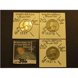 1937 P, D, & S Washington Silver Quarters, All VG.