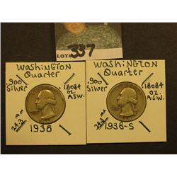 1938 P & S Washington Silver Quarters, All VG.