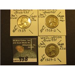 1939 P, D, & S Washington Silver Quarters, All VG.