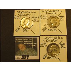 1940 P, D, & S Washington Silver Quarters, All VG-F.