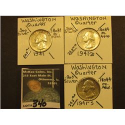 1941 P, D, & S Washington Silver Quarters, All EF.