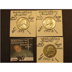 1942 P, D, & S Washington Silver Quarters, All EF.