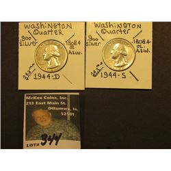 1944 D & S Washington Silver Quarters, All EF.