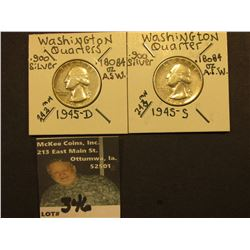 1945 D & S Washington Silver Quarters, All VF-EF.