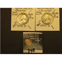 1946 D & S Washington Silver Quarters, All F-VF.