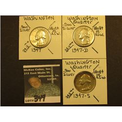 1947 P, D, & S Washington Silver Quarters, All Vf-EF.